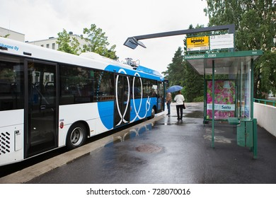 Helsinki, Finland - September, 2017: Electric bus at the charging station