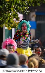 HELSINKI, FINLAND - SEPTEMBER 24, 2016: Members of the Loldiers of Odin clown group at the Peli poikki - Rikotaan hiljaisuus - protest rally against racism and right wing extremist violence.