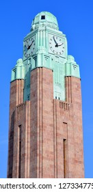 HELSINKI FINLAND SEPTEMBER 25 2015: Clock tower at the Helsinki Central railway station is a widely recognised landmark in Kluuvi, part of central Helsinki