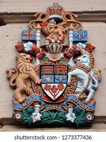 HELSINKI FINLAND SEPTEMBER 26 2015: Canadian embassy Royal Coat of Arms of Canada is, since 1921, the official coat of arms of the Canadian monarch and thus also of Canada