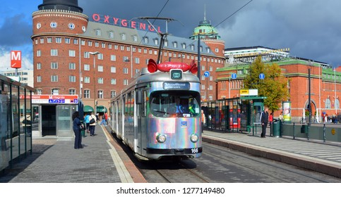 HELSINKI FINLAND SEPTEMBER 26 2015: The Helsinki trams are the main means of transport in the city centre.The Helsinki system is one of the oldest electrified tram networks in the world.