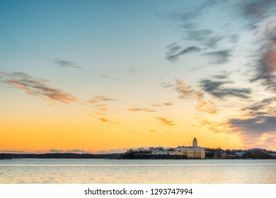 Helsinki, Finland. Suomenlinna Church In Fortress Of Suomenlinna Or Sveaborg And Partially Fortified Island Harakka At Sunrise Sunset Time.