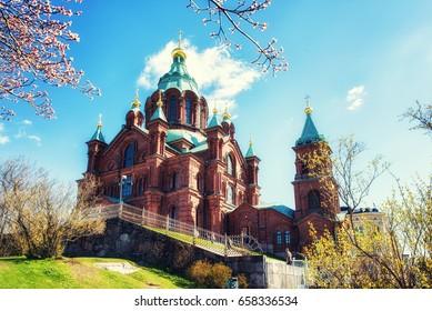 Helsinki Finland. Uspenski Orthodox Cathedral Upon Hillside, Church
