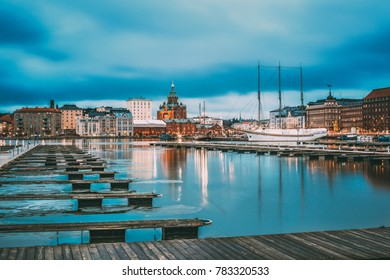 Helsinki, Finland. View Of Evening City And Uspenski Cathedral From Pier.