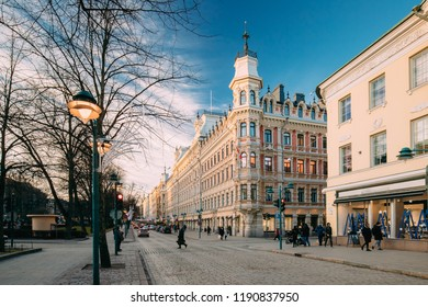 Helsinki, Finland. View Of Pohjoisesplanadi Street In Kluuvi District In Sunny Winter Day.