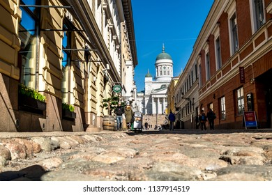 Helsinki. Finland.April 7, 2018.The  St. Nicholas Cathedral in Helsinki.Finland.