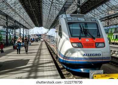 Helsinki. Finland.April 7, 2018.View of the branded Allegro high-speed train at Helsinki train station.