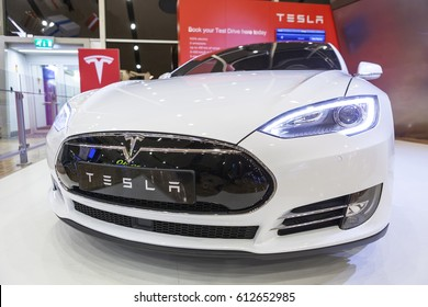 HELSINKI, FINLAND-CIRCA DEC, 2015: Close-up front view of the Tesla car radiator grille. Whitestar electric sedan. The Tesla Model S is full-sized all-electric five-door, luxury liftback