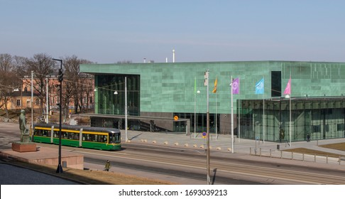 Helsinki, Finland-March 26,2020: Helsinki Music Center in Helsinki. The residents of the Center are the Helsinki Philharmonic Orchestra, the Finnish Radio Symphony Orchestra, and the Sibelius Academy