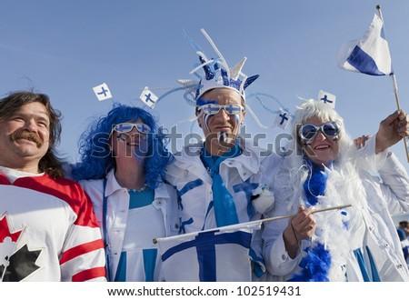 Helsinki Finlandmay 14 Ice Unidentified Hockey Fans Waiting Stock