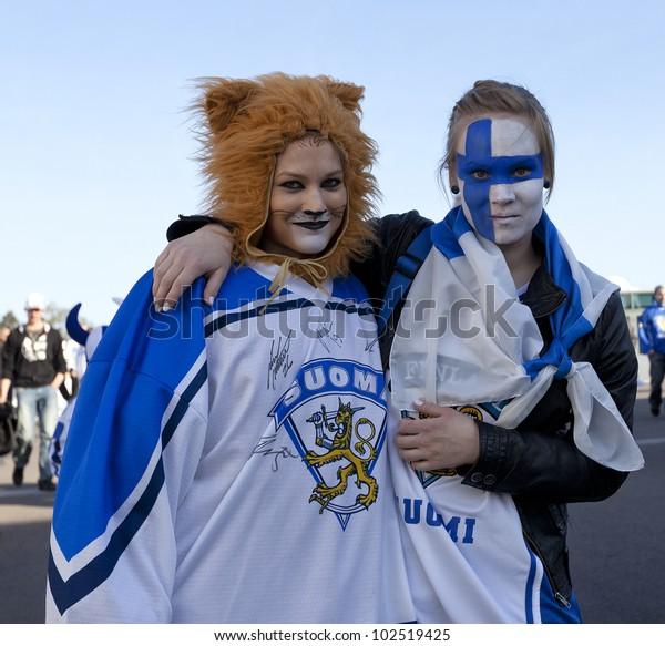 Helsinki Finlandmay14ice Unidentified Hockey Fans Waiting Stock