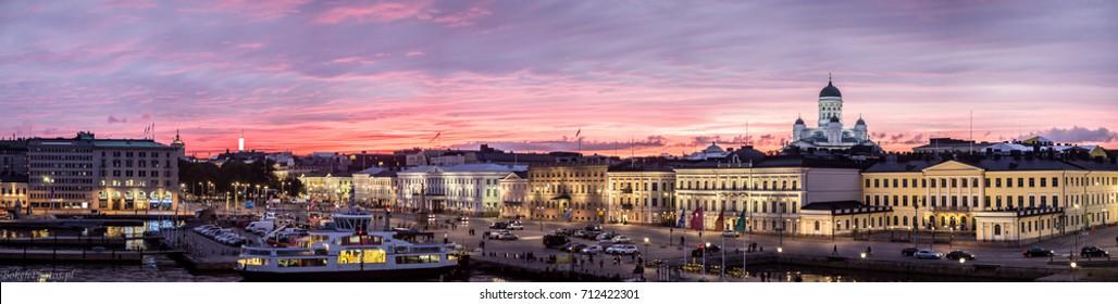 Helsinki panorama, cathedral, sundown.