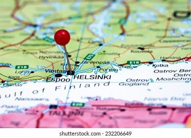 Helsinki pinned on a map of europe