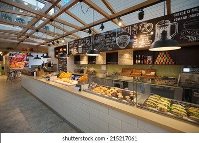 HELSINKI - SEP 03: Airport cafe interior on September 03, 2014 in Helsinki, Finland. Helsinki Airport  is the main international airport of the Helsinki metropolitan region and the whole of Finland