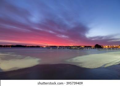 Helsinki at sunrise from Espoo