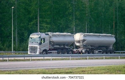 Helsinki surroundings, Finland - August 20, 2017: trucks Scandinavia on autobahn, tank lorry