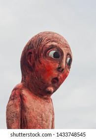 Helsinki, uusimaa/Finland- 9/1/2018: portrait of bad bad boy statue by tommi toija in West harbor