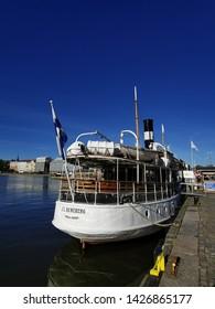 HELSINKI, UUSIMAA/FINLAND – MAY 17TH 2019: Kauppatori, Helsinki. Old Finnish steel boat cruiser Runeberg - For Editorial Use Only