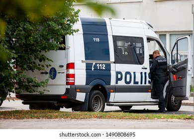 Helsinki/Finland August 20, 2019 A Finnish police van