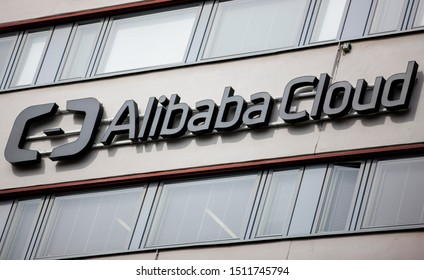 Helsinki/Finland August 25, 2019 Alibaba Cloud logo. Alibaba Cloud also known as Aliyun, is a Chinese cloud computing company, a subsidiary of Alibaba Group.