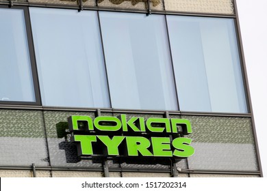 Helsinki/Finland August 25, 2019 Nokian Tyres sign on a wall. Nokian Tyres headquartered in Nokia, Finland, produces tyres for cars, trucks, buses and heavy duty equipment