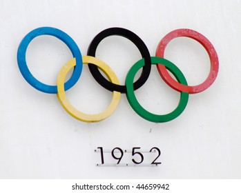 HELSINKI,FINLAND - JANUARY 17: Olympic Rings on Helsinki Olympic Stadium - The Games of the XV Olympiad were celebrated in Helsinki from 19 July to 3 August 1952, on January 17, 2010 in Helsinki, Finland.