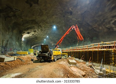 HELSINKI/FINLAND - MAY 14, 2014; The West metro line construction site. Construction works at the future Matinkyla metro