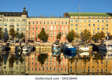 HELSINKI,FINLAND - SEPT 27,2015:Pohjoisranta is located in center and runs along northern harbor. On waterfront there are houses built in different architectural styles in different historical periods