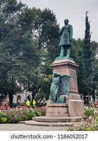 Helsinki/Finland - September 5, 2018: Statue of Johan Ludvig Runeberg on Esplanadi in Helsinki, Finland