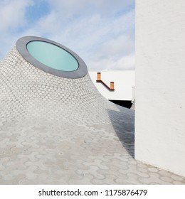 Helsinki,Finland-September 9,2018:White domes on the Lasipalatsi Square on outdoor space of Amos Rex,which is an art museum chosen by the BBC as one of Europe's most innovative new architectural space