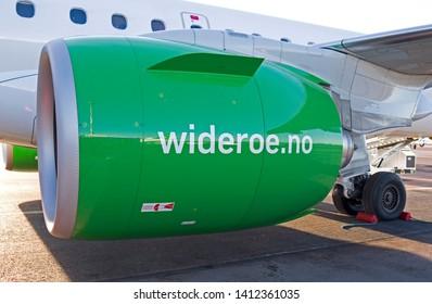 Helsinki-Vantaa / Finland / February, 17th 2019: Closeup of the geared turbofan engine of a new Embraer E190-E2 plane of Norwegian Widerøe's Flyveselskap on Vantaa airport
