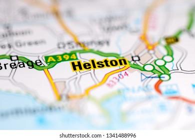 Helston. United Kingdom on a geography map