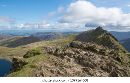 Helvellyn via Striding Edge route - Lake District - England.