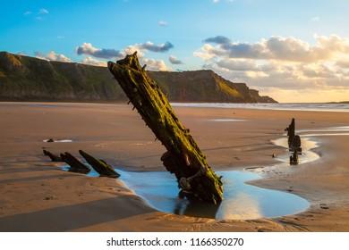 Helvetia Wreck, Rhossili Bay, Gower, Wales, UK