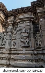 Hemadpanti shiva temple, the 11th century temple is built of stone in Hemadpanthi style during the Kalyani-Chalukya era. Hottal, Maharashtra, India