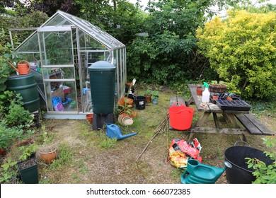 Hemel Hempstead, Hertfordshire, England UK. 23 June 2017. An untidy English Back Garden.