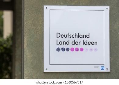 hemer, North Rhine-Westphalia/germany - 19 08 19: deutschland land der ideen sign in hemer germany