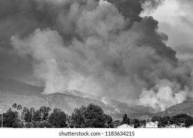 Hemet, California/USA - July 25 2018: Idyllwild fire, burning out of control, can be seen from Hemet valley