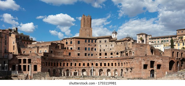 The hemicycle of the Markets of Trajan, part of the Forum of Trajan in Rome. The complex is brick built and is believed to have functioned as shops and administrative offices in ancient times.