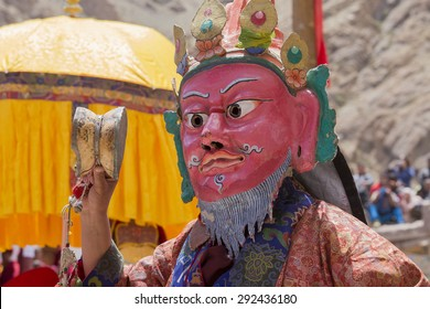 HEMIS, INDIA - JUNE 26, 2015: Hemis Festival is the Masked Dance, performed by the lamas, that celebrates victory good over evil at Ladakh, North India