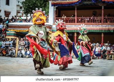 Hemis, Ladakh, India - July 3, 2017: The Lamas performed dance at annual festival called Hemis Tse Chu festival.
