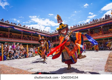 Hemis, Ladakh / India - July 4th 2017: Hemis Tsechu, a Tantric Buddhist ceremony at Hemis monastery, with tantric mask dancing/Cham dance performed by the monks. Drukpa lineage of the Kagyu sect.