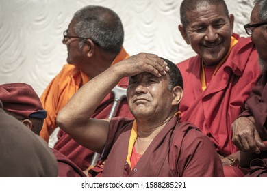 Hemis, Ladakh / India - July 9th 2019: Hemis Tsechu, a Tantric Buddhist ceremony at Hemis monastery, with tantric mask dancing/Cham dance performed by the monks. Drukpa lineage of the Kagyu sect.