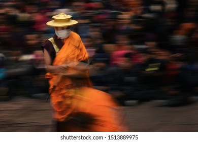 Hemis Monastery, Ladakh ,India : March 1,2017 : Lama Chant and Sacred Dance in Hemis fastival that dedicated to Lord Padmasambhava (Guru Rinpoche)