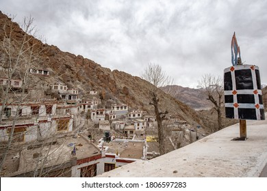 Hemis temple monastery ,Big and Large temple in Leh Ladakh , India with rock mountain screen.