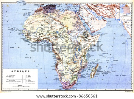 Hemispherical Map Africa Names Cities Countries Stock Photo Edit