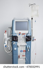 Hemodialysis machine with tubing and installations. Health care, blood purification, kidney failure, transplantation, medical equipment concept.