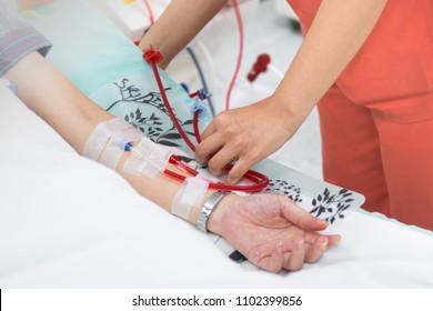 Hemodialysis machines with tubing.,transplantation,medical equipment concept.