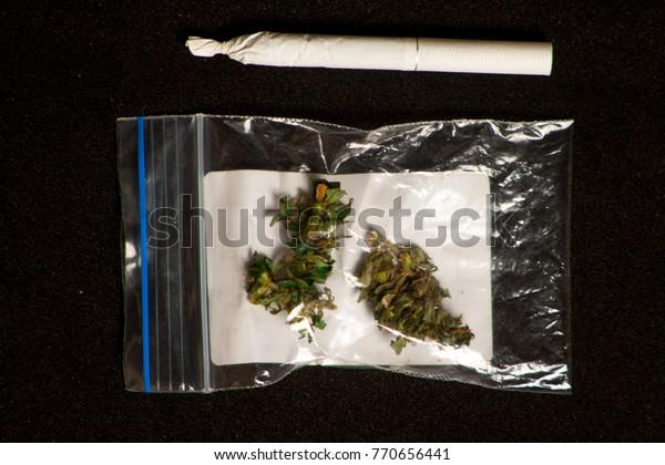 Hemp Buds Smoking Tube Medical Marijuana Stock Photo (Edit