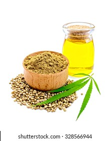 Hemp flour in a bowl, green leaf cannabis, seed and oil in a glass jar isolated on white background